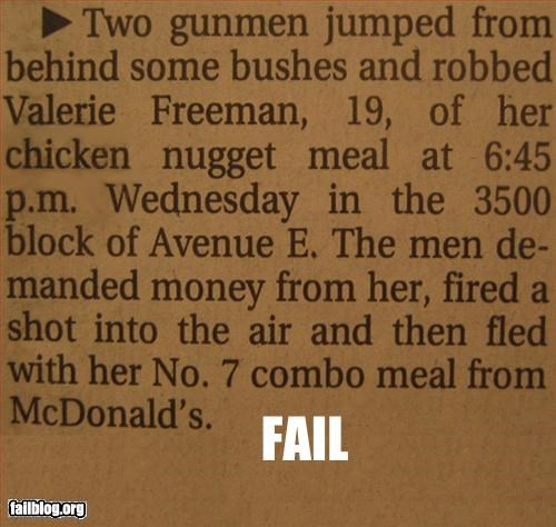 armed article chicken food g rated McDonald's meal news Police Blotter robbery - 3111108096