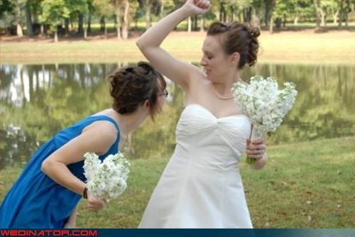 armpit,armpit smelling,bride,bride smells bad,bridesmaid assistance,Crazy Brides,eww,funny wedding photos,getting a good whiff,miscellaneous-oops,surprise,whoops