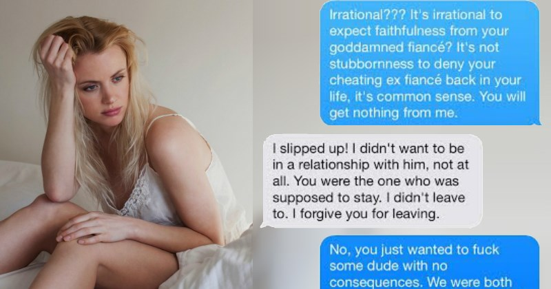 Cheating ex tries to get her man back but he is really not interested.