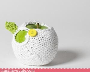 Crocheted fruit hand made Knitted sweet white