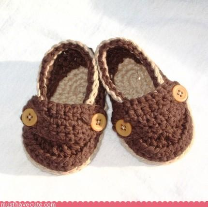 brown Crocheted Knitted slippers Teeny - 3112427264