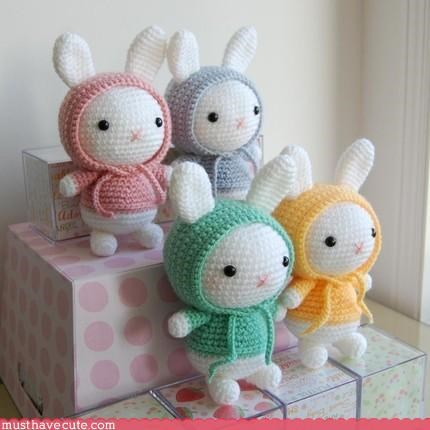 bunnies,Crocheted,Knitted,Pastel,Plushie