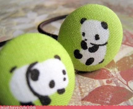 accessory bathroom beauty button cute-kawaii-stuff green hair panda ponytail rubber band