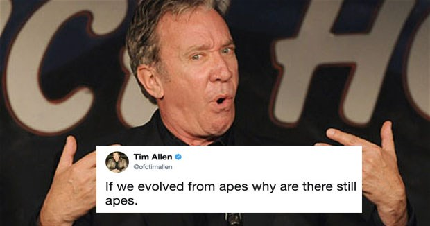 Collection of Twitter memes about Tim Allen's evolution tweets.