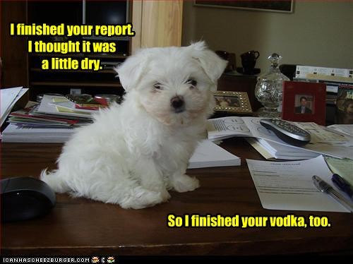 I finished your report. I thought it was a little dry. So I finished your vodka, too.