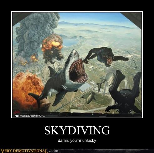 sky diving,shark,bad luck