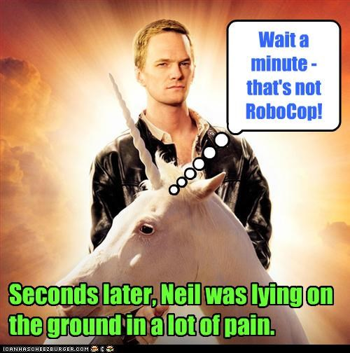 Seconds later, Neil was lying on the ground in a lot of pain. Wait a minute - that's not RoboCop!