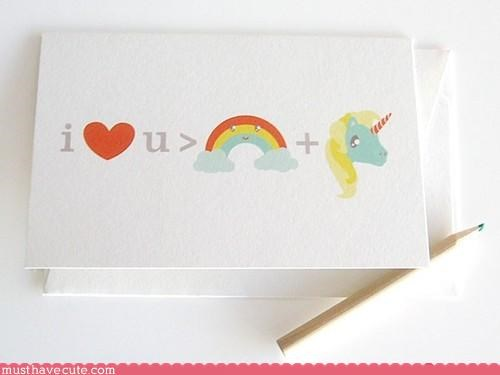 card math rainbow stationary unicorn