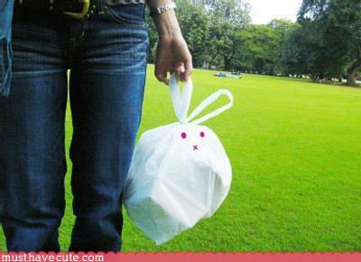 bag bunny cute Recycled white