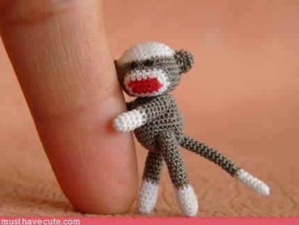 Crocheted cute hand made sock monkey Teeny toy