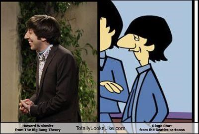 big bang theory,cartoons,howard wolowitz,nose,profile,ringo starr,the Beatles,TV