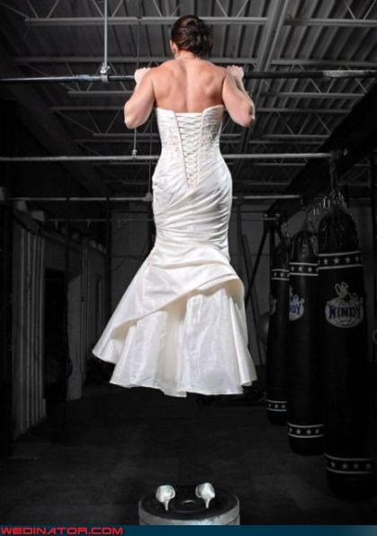Crazy Brides fashion is my passion hangin-tough pull ups ripped StrongBride surprise Wedding Themes