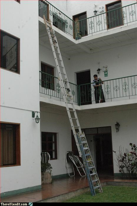 apartment,ladder,tied together,unsafe