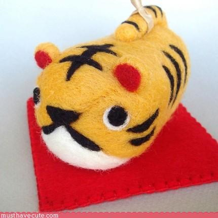Faces On Stuff,felt,hand made,Teeny,tiger