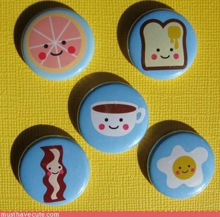 accessory button Faces On Stuff food hand made