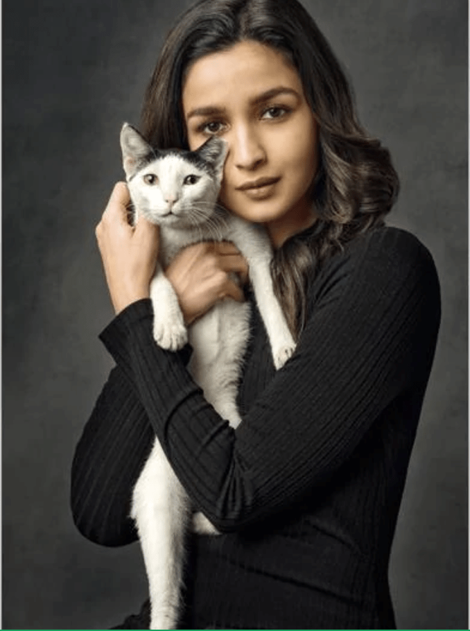 an indian british actress holding up one of her cats - cover for a story about actress alia bhatt and her love of cats