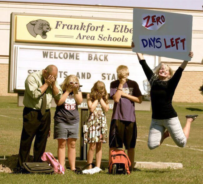 photos of funny moms celebrating back to school