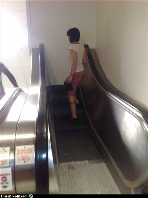 comedy,escalator,goes nowhere,wall