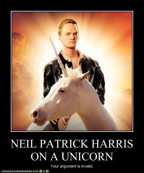 NEIL PATRICK HARRIS ON A UNICORN Your argument is invalid.