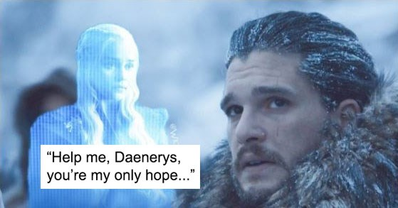 Collection of funny memes and reactions to Game of Thrones episode beyond the wall, jon snow, daenerys targaryen, davos seaworth, the hound, benjen, coldhands, horses, white walkers, wights, the night king, dragons.