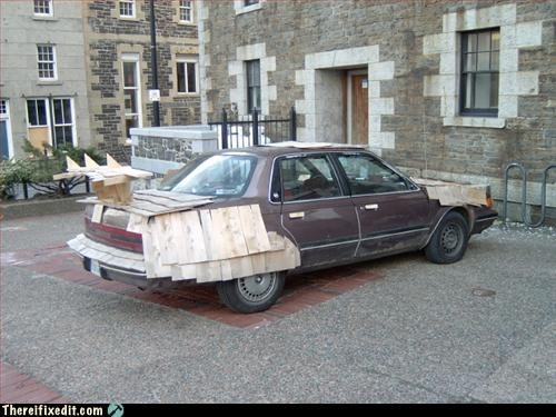 car mod spoiler wood wtf