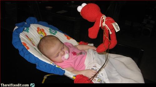 baby,bouncy seat,elmo,Mission Improbable,nap attack