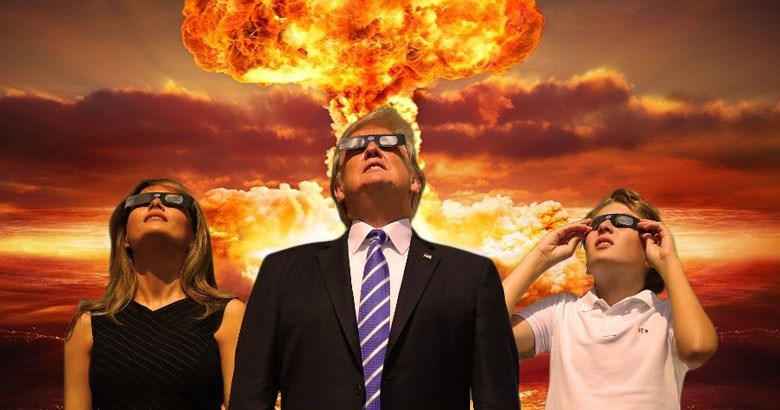 Collection of funny memes about Donald Trump staring at the sun, Donald Trump eclipse, Donald Trump solar eclipse memes, photoshop.