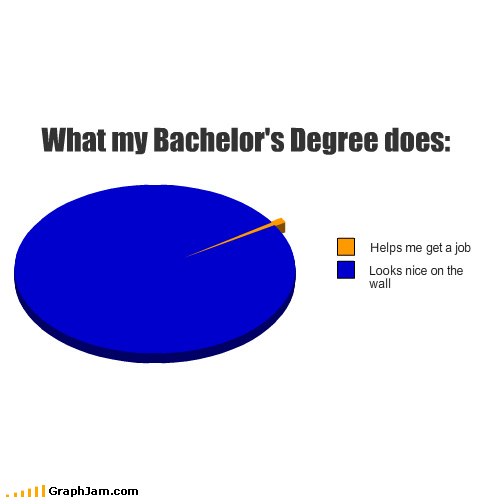 bachelors degree,helps,job,looks,nice,Pie Chart,wall