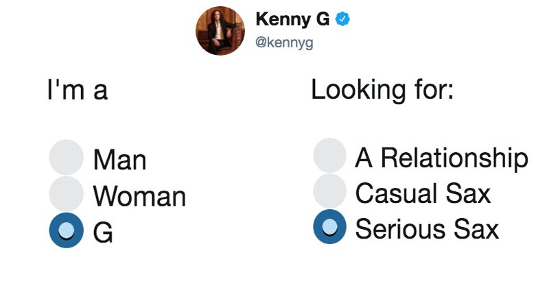 Funny twitter memes about online dating, i'm a man/woman looking for XYZ, Kenny G, Finding Nemo, Disney.