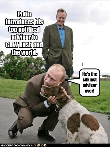 Putin introduces his top political advisor to GHW Bush and the world. He's the silkiest advisor ever!