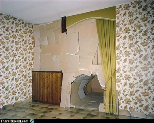 cardboard Hall of Fame hole in the wall overkill patched up - 3157908992