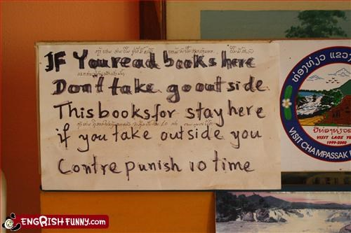 Don't take the book outside!