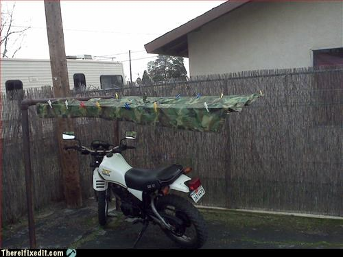camouflage divorce hidden Mission Improbable motorcycle