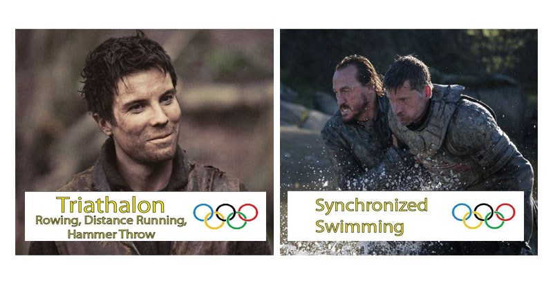Collection of images imagining if Game of Thrones characters were in the Olympics.