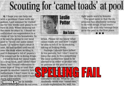 camel toes,failboat,letters,newspaper,Probably bad News,spelling,toads,understanding