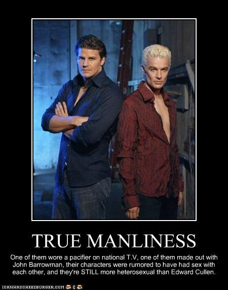 TRUE MANLINESS One of them wore a pacifier on national T.V, one of them made out with John Barrowman, their characters were rumored to have had sex with each other, and they're STILL more heterosexual than Edward Cullen.