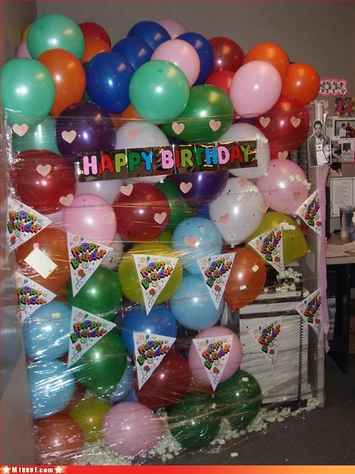 balloons are awful birthday boredom creativity in the workplace cubicle boredom cubicle prank dickhead co-workers dickheads hate you guys prank sass screw you wiseass