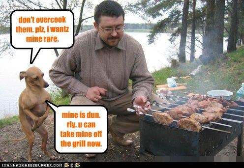 don't overcook them. plz, i wantz mine rare. mine is dun. rly. u can take mine off the grill now.