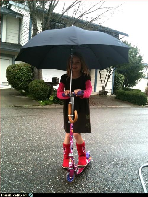 kids Mission Improbable raining scooter umbrella