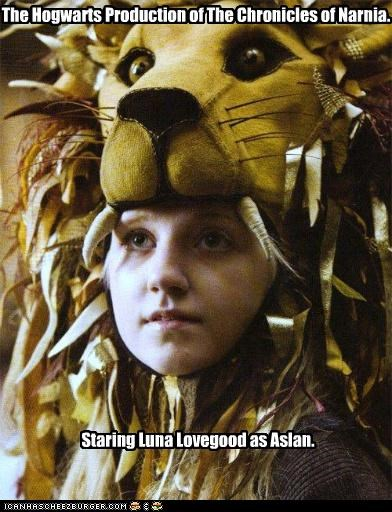 chronicles of narnia,evanna lynch,Harry Potter,hats,lion,luna lovegood,sci fi