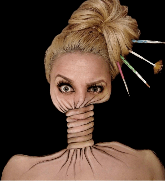 Artist paints optical illusions on her face