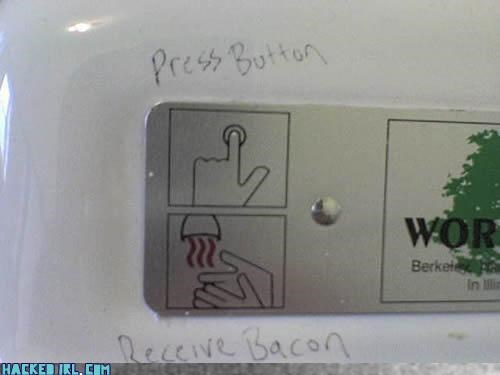 bacon,hand dryer,lies,restroom