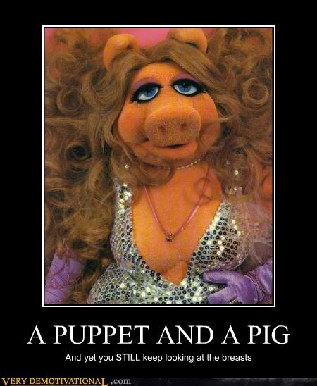 A PUPPET AND A PIG And yet you STILL keep looking at the breasts