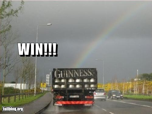 beer,cheer up,failboat,gloomy day,rainbows,trucks,win