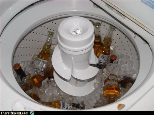 beer,ice,spin cycle,washing machine