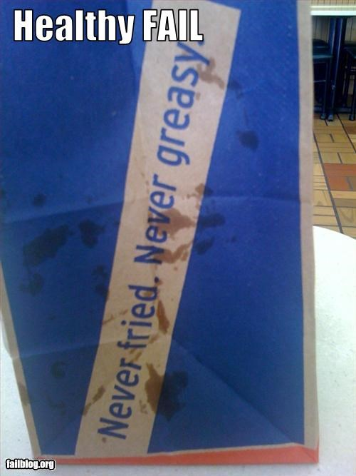 bag,failboat,food,g rated,greasy,gross,healthy,irony,slogan