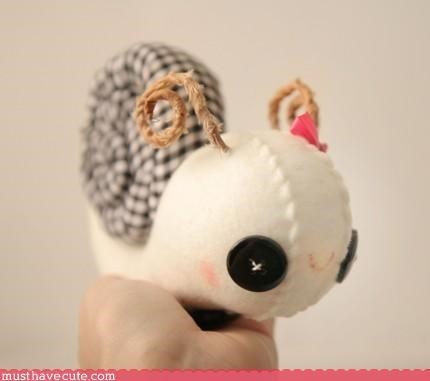 animal art hand made Plushie snail - 3178746880