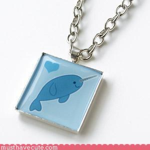 Faces On Stuff hand made Jewelry narwhal necklace - 3178772224