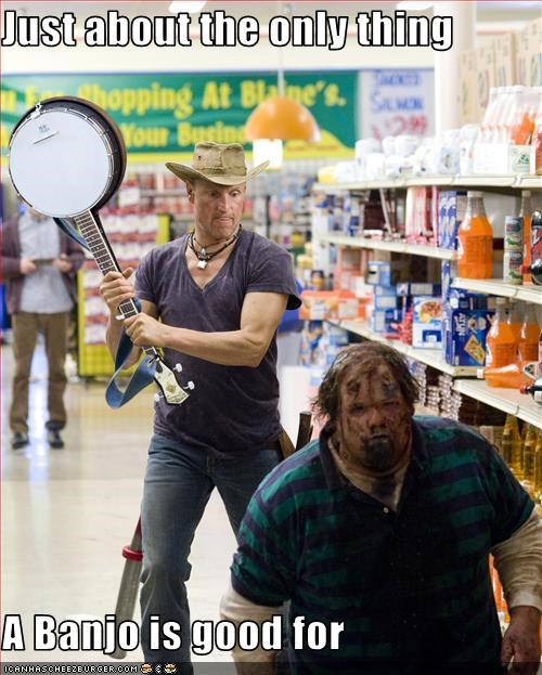 banjo,movies,woody harrelson,zombie