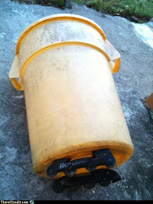 lazy recycling-is-good-right roller blades trash can